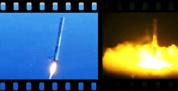 Kompilacja startów i lądowań rakiet FALCON 9